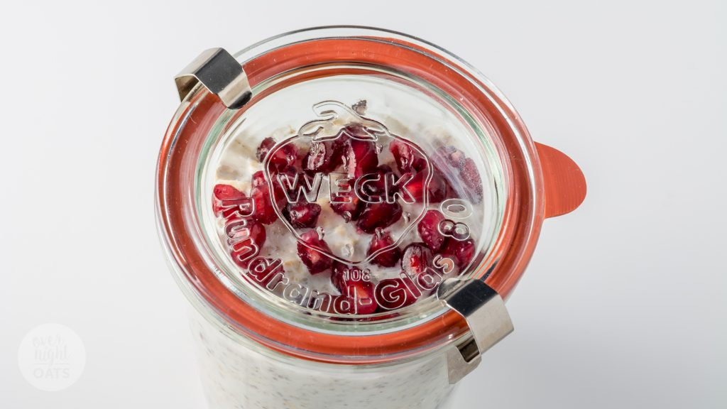 coconut and pomegranate overnight oats